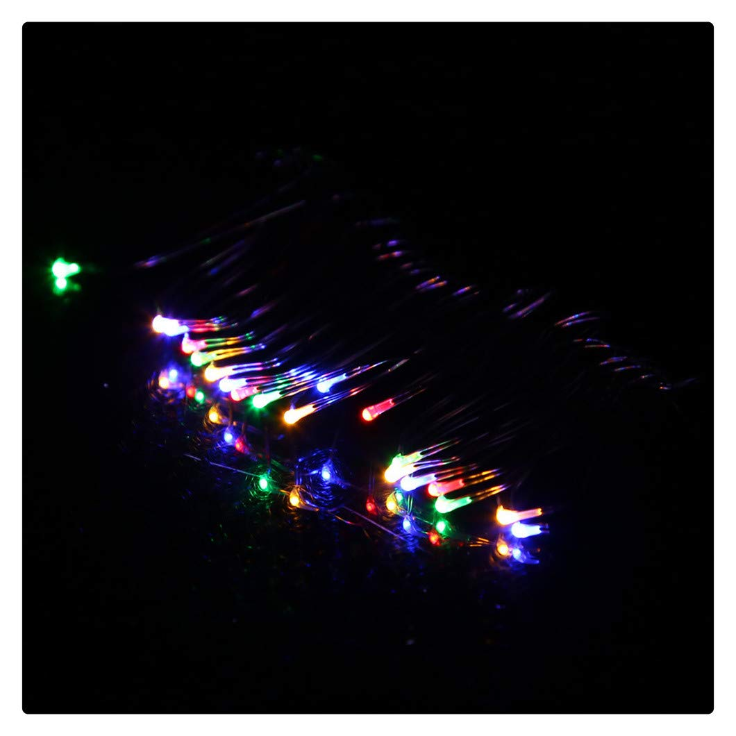Kanzd 2M 20LED Button Cell Powered Silver Copper Wire Mini Fairy String Lights (Multicolor, 2M 20LED)