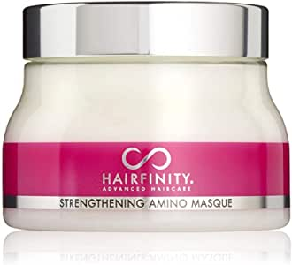 Hairfinity Hair Strengthening Amino Treatment Masque - Hydrating Hair Mask and Deep Conditioner Cream for Dry Damaged Hair with Hydrolyzed Collagen, Keratin, Vegetable Protein for Growth, 8 oz