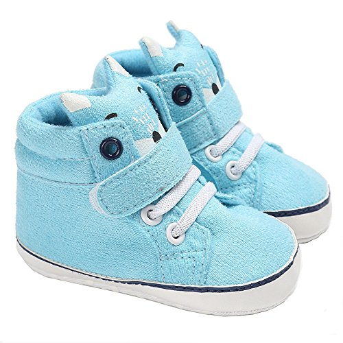 Isbasic Baby Boys Girls High-tops Sneakers Toddler Soft Sole First Walkers Shoes (12-18 months, blue)