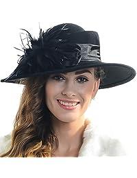 Women Wool Plume Kentucky Derby Church Dress Wide Brim Hat (Black)