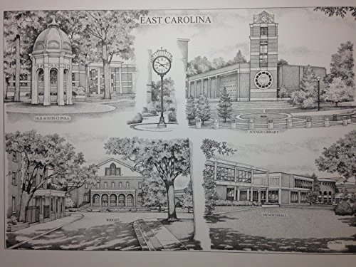 East Carolina 16''x20'' pen and ink collage print by Campus Scenes