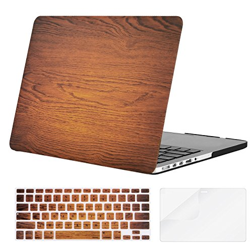 MOSISO Plastic Pattern Hard Case Only Compatible MacBook Pro (W/O USB-C) Retina 13 Inch (A1502/A1425)(W/O CD-ROM) Release 2015/2014/2013/end 2012 & Keyboard Cover & Screen Protector, Wood Grain