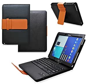 COD Bluetooth Keyboard Tablet Stand Leather Case for Samsung Galaxy Note 10.1 2014 Edition (Black/Brown)