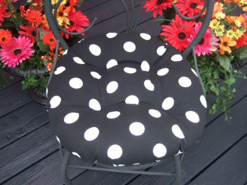 Indoor / Outdoor Round Tufted Bistro Cushion with Ties - Black and White Polka Dot Fabric - Choose Size (16