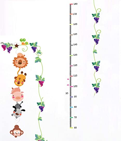 Mono Pesca Luna Altura Pegatinas de Dibujos Animados Vid UVA Gráfico de Crecimiento Animal para Dormitorio TV decoración de la Pared Regalos de cumpleaños: Amazon.es: Hogar