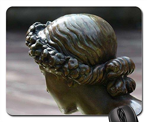 Mouse Pads - Hair Wreath Figure Head Statue Bronze Girl