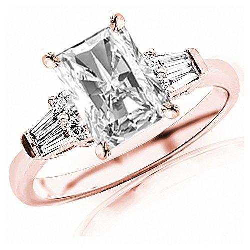 1 Carat 14K Rose Gold Baguette Round Radiant Cut Diamond Engagement Ring (0.75 Ct G Color VS2 Clarity Center Stone) ()