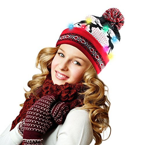 Harmony Life 10 Led Light Up Beanie Hat Flashing Knitting Cap  Reindeer Pom Beanie
