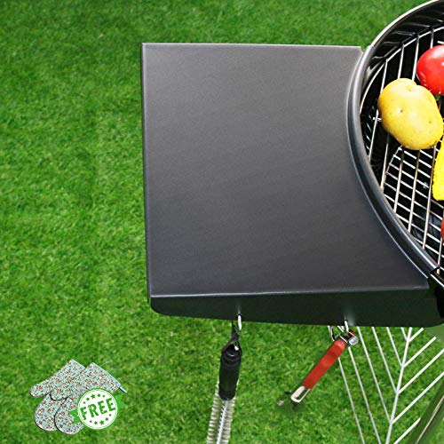 QuliMetal Grill Table Shelf for 22 Inches Weber Master Touch & Original Kettle Charcoal Grills, Replaces Weber Grill Side Shelf, Outdoor Steel BBQ Table Folds to Store Inside Barbecue - Basket Coal