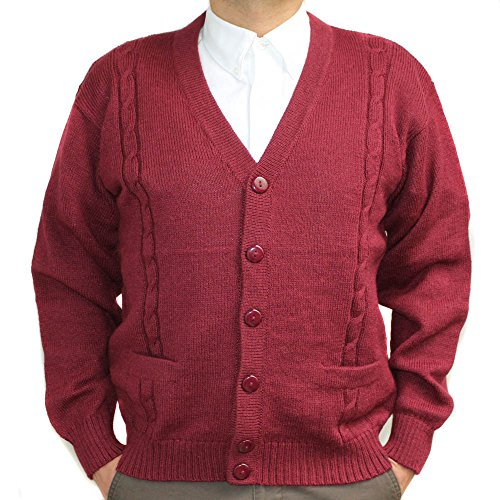 Alpaca Cardigan Golf Sweater Jersey BRIAD V Neck Buttons and Pockets Made in Peru Burgundy XXXXL