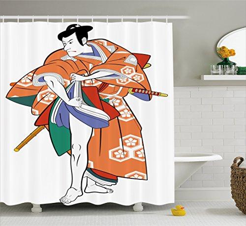 Ambesonne Kabuki Mask Decoration Shower Curtain, Kabuki Actor with Traditional Costume Historic Edo Era Drama Culture, Fabric Bathroom Decor Set with Hooks, 70 Inches, (70's Era Costume Ideas)