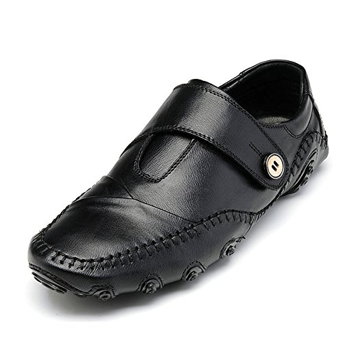 Boat on Driving Loafers Shoes Men's Black Leather Comfort Slip Car BIFINI x7PgfnR