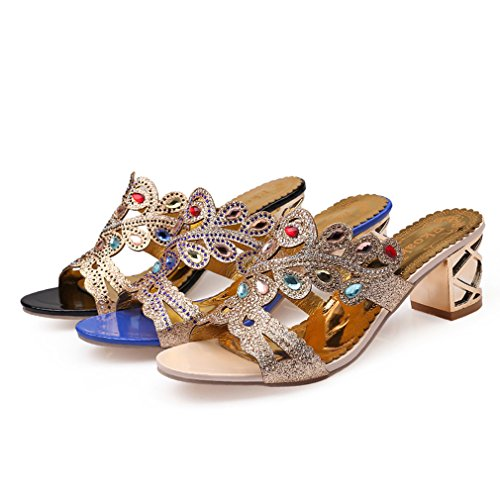 Diamantes Tacón Imitación Mujer con Sandalias GenePeg Zapatillas de Blue de para Verano Vestir azul de 2 HE47vqw