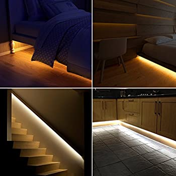 2 Pack Under Bed Light Motion Activated Bed Light 4ft LED Strip with Motion Sensor and Power Adapter, Bedroom Night Light Amber for Baby, Crib, Bedside, Stairs, Cabinet and Bathroom