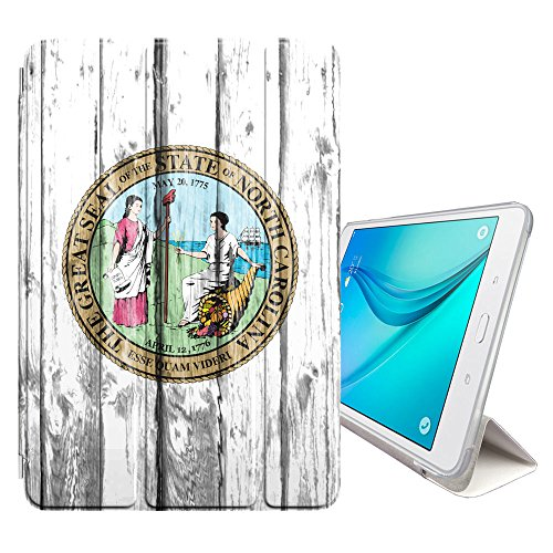 (FJCases North Carolina Seal The Tar Heel State Wood Pattern Smart Cover Stand + Back Case with Auto Sleep/Wake Function for Samsung Galaxy Tab A - 8