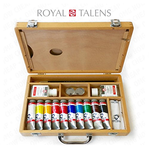 Royal Talens - Van Gogh Acrylic Art Set in Premium Wooden Case - With Paints, Palette, and Brushes by Royal Talens - Van Gogh