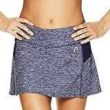 HEAD Women's Athletic Tennis Skort - Performance Training & Running Skirt - Fresh Mesh Medieval Blue Heather, Medium