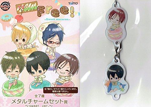 RARE!! Taito Kuji Prize Anime Free! Sweet macaron Metal Charm set Rei Haruka