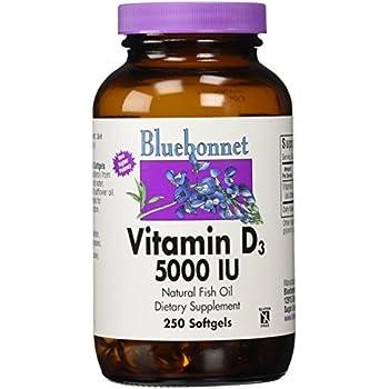 Bluebonnet Vitamin D3 5000 IU Softgel, 250 Count