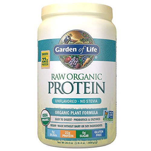 Garden of Life Organic Vegan Protein Powder with Vitamins and Probiotics – Raw Organic Plant Based Protein Shake, Sugar Free, Unflavored, 20.0oz (1 lb 4 oz/568g) Powder 51RnB2Bn3oL