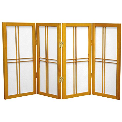 Oriental Furniture 2 ft. Tall Desktop Double Cross Shoji Screen - Honey - 4 Panels
