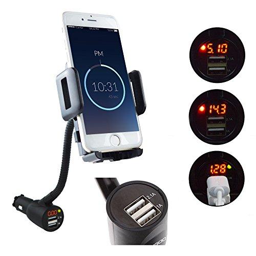 [2016 neu Version] SYCEES-VERIGOO Universal KFZ Auto Handy Halterung mit 3.1A Auto Led-Autobatterieanzeige Ladegerät für Smartphone wie iPhone 6 6s Plus / Samsung S6 S5 Note 4