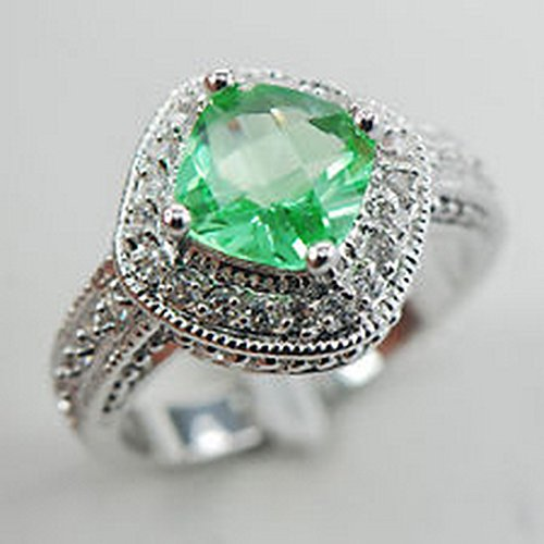 YD Jewels - Peridot White Topaz 925 Sterling Silver Gemstone Ring Size - Peridot Steel Gem
