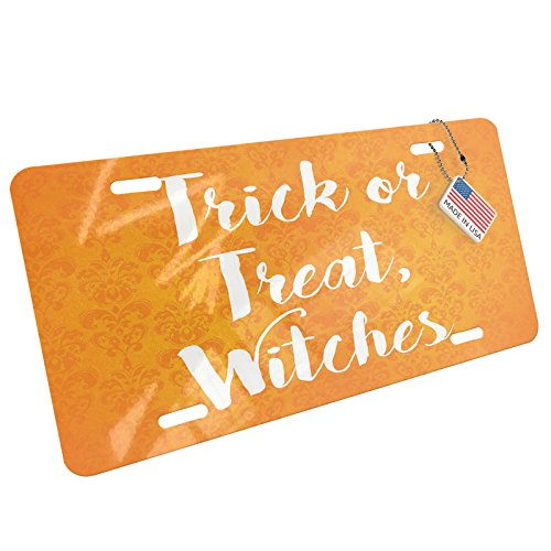 NEONBLOND Trick or Treat, Witches Halloween Orange Wallpaper Aluminum License Plate -