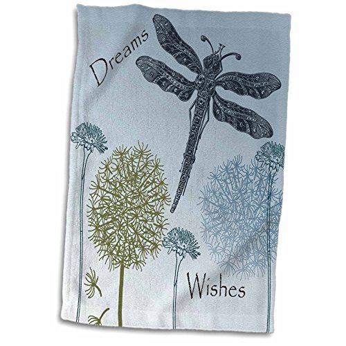 3D Rose Dreams and Wishes Dandelions and Dragonflies Hand/Sports Towel, 15 x 22