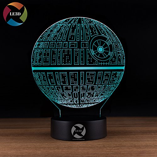 Surface Star Led (LE3D 3D Optical Illusion Desk Lamp/3D Optical Illusion Night Light, 7 Color LED 3D Lamp, Star Wars 3D LED For Kids and Adults, Death Star Light Up)