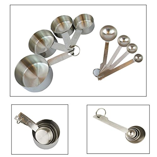 Measuring Cups and Measuring Spoon Set 8 Pieces Stainless Steel