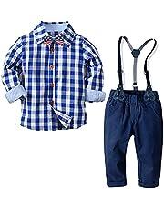 Boys Clothes Set Toddler Kids Gentlemen Suit Long Sleeve Bow Tie Shirts Suspenders Pants Outfits