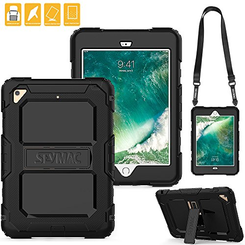 iPad Mini 4 Protective Case with Stand and Removable Shoulder Strap, SEYMAC Three Layer Rugged Shock Drop Proof Full Body Silicone Case with Kickstand for iPad model [a1538,a1550] - Strap Back Mini