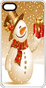 Happy Snowman With A Wrapped Christmas Present White Rubber Case for Apple iPhone 5 or iPhone 5s