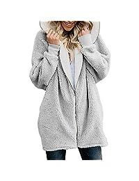 Newbestyle Womens Oversized Hooded Pockets Fuzzy Fleece Cardigan Jacket Coat