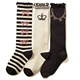 Celine lin Girl's Princess Crown Series Cotton Knee High Socks Boots Socks,3-Pair