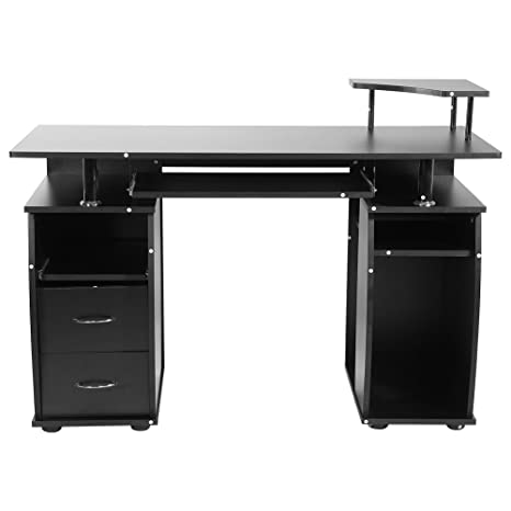 zerone Escritorio Mueble de Escritorio para Ordenador Negro, Mesa informática Escritorio para Ordenador PC con