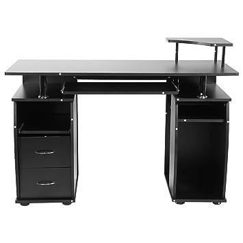 Zerone Ordenador Portátil Mesa, Mesa, Mesa de Trabajo con el cajón de DM (Negro, 120 * 55 * 85 cm): Amazon.es: Juguetes y juegos