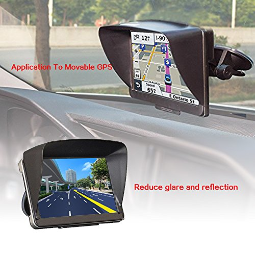 Zepthus Anti Glare Sun Shade Shield Lens Hood Visor Protector Glare Visor For 7 inch Car Vehicle GPS Navigator (Gps Anti Glare)