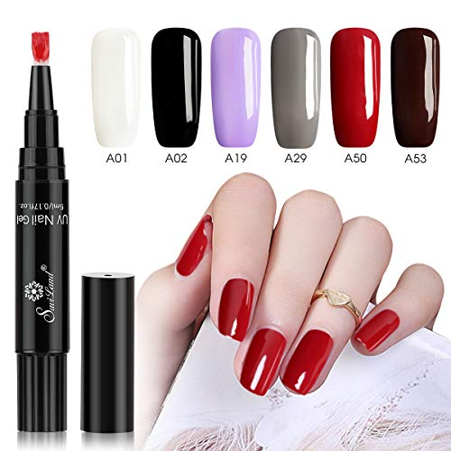 6 Colors Gel Nail Polish Pen Set, Saviland Soak Off UV LED Nail Varnish Lacquer Nail Art Kit (White Black Red Brown) (Gel Nail Pen)