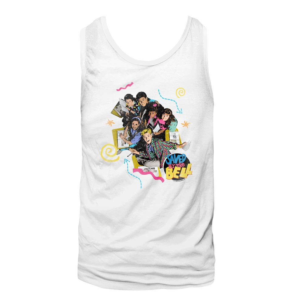 Amazon.com: Saved by The Bell 1990 Bayside High Teen Comedy Sitcom Adult  Tank Top T-Shirt White: Clothing