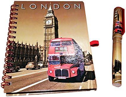Big Ben und London Bus Notizblock und Stift - Passende Entwurf / Vintage Sepia Farbe / Roter Routemaster-Doppeldecker / Britisches Andenken aus England UK für Schule Büro oder Zuhause