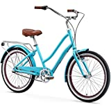 "sixthreezero EVRYjourney Women's 3-Speed Step-Through Hybrid Cruiser Bicycle, Teal w/Brown Seat/Grips, 24"" Wheels/ 14"" Frame"
