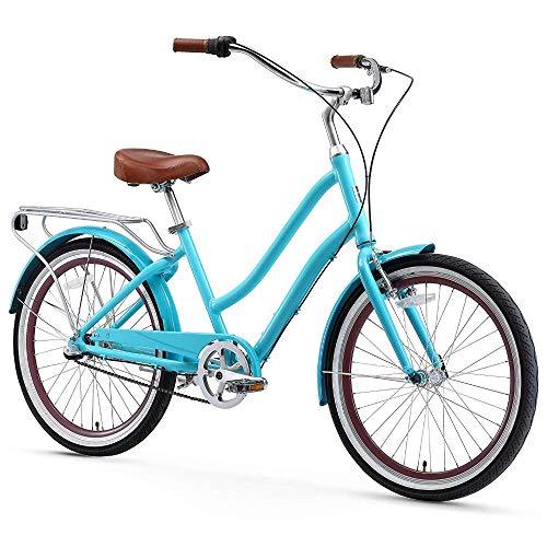 sixthreezero EVRYjourney Women's 3-Speed Step-Through Hybrid Alloy Cruiser Bicycle, Teal w/Brown Seat/Grips, 24