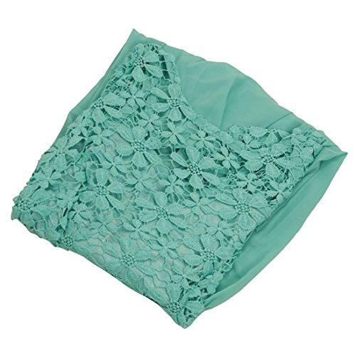 SODIAL(R) Nouvelle mode Mini robe de crochet dentelle florale Robe en mousseline de soie pour femme Vert L