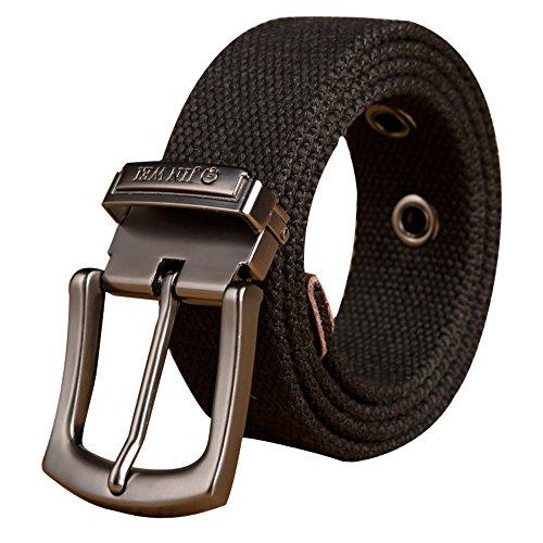 Men's Military Style Tactical Pin Buckle Canvas Belt Multi-Color Options (XXX-Large, Black) - Logo Canvas Belt