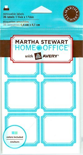 "Martha Stewart Home Office with Avery Removable Labels, Teal Blue and Green, 1-3/4"" x 1-5/8"", 36/Pack"