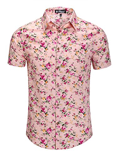 uxcell Men Short Sleeve Button Down Floral Print Cotton Beach Hawaiian Shirt Pink L(US 44)