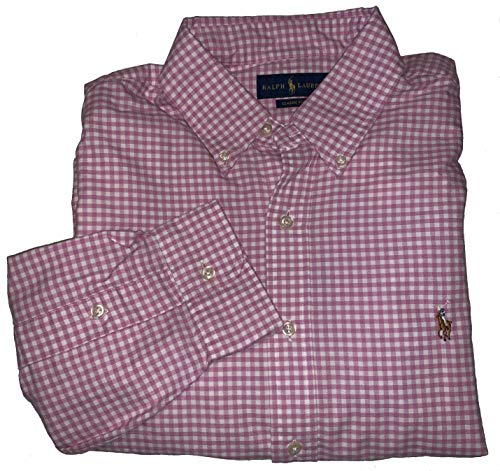 Ralph Lauren Polo Men's Classic Fit Long Sleeve Button Down Casual Dress Oxford Shirt (Pink, Medium) ()