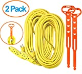 Aurum Cables 75 Feet 3 Outlet Extension Cord 14AWG Indoor/Outdoor Use- 2 Pack Yellow - With 2 Holders - UL Listed